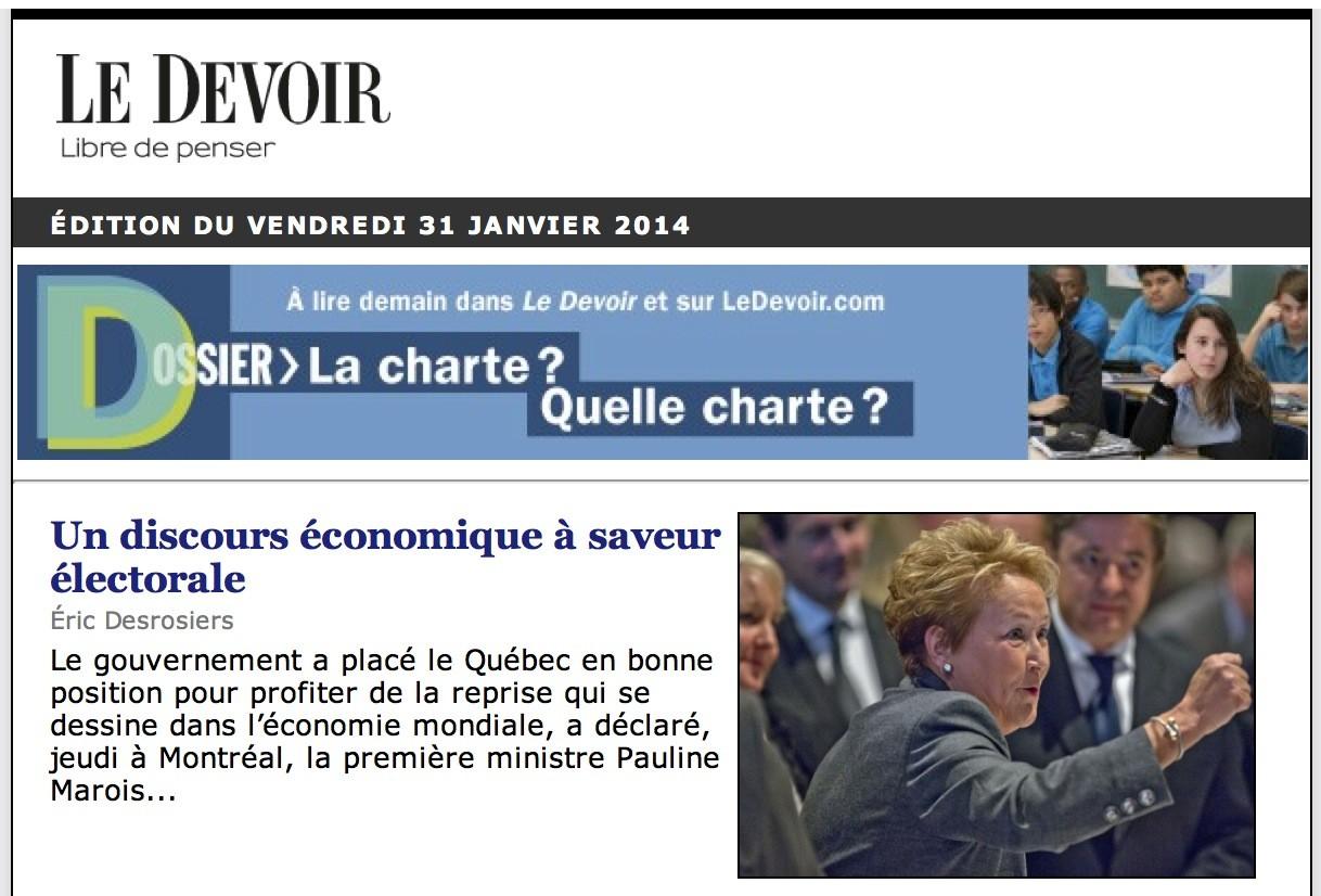Le Devoir, 31 janvier 2014, p. A1