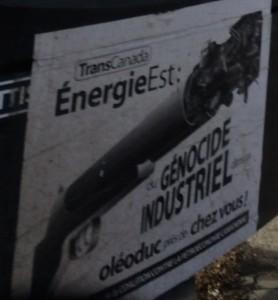«Génocide industriel» (pancarte, Montréal, 2014)