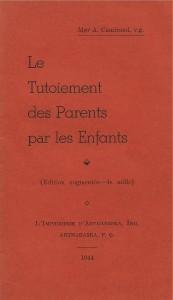Lle Tutoiement des parents par les enfants, 1944, couverture