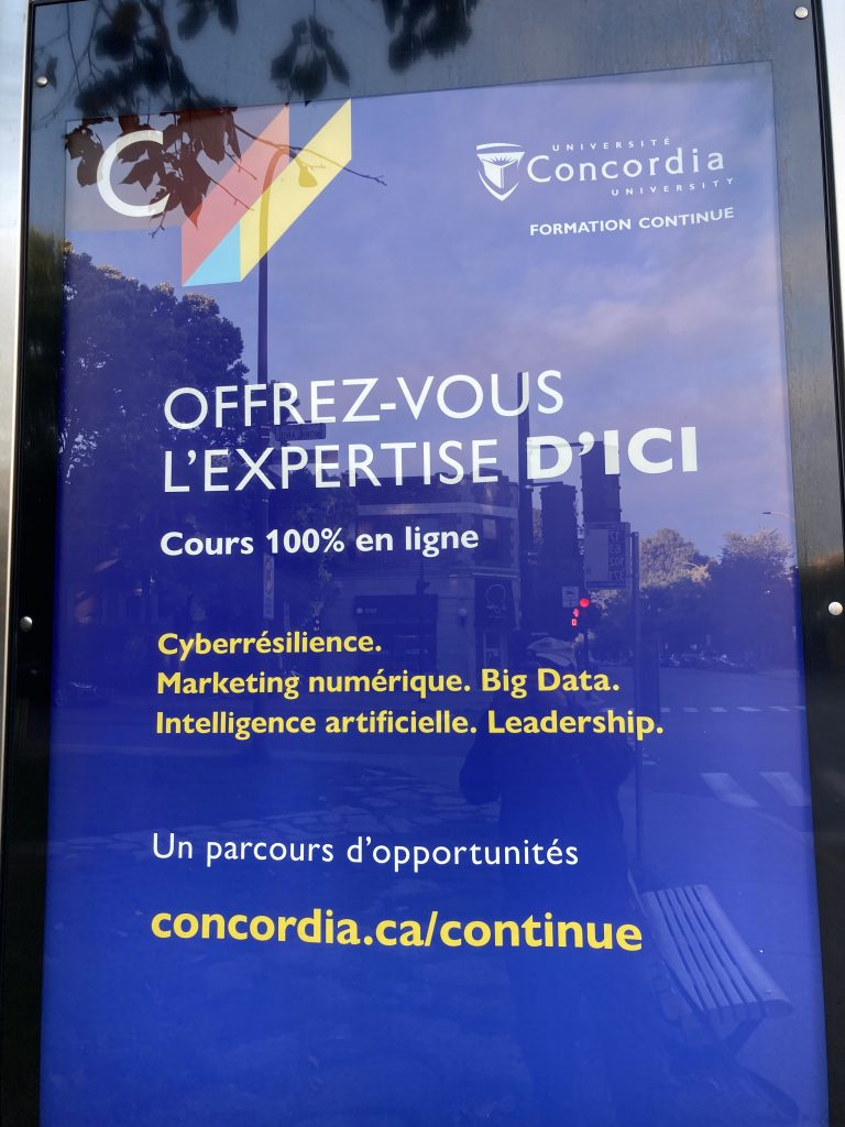 Université Concordia, Montréal, publicité, 2020