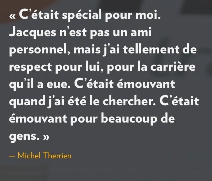 Déclaration de Michel Therrien sur Jacques Demers, la Presse+, 19 octobre 2016