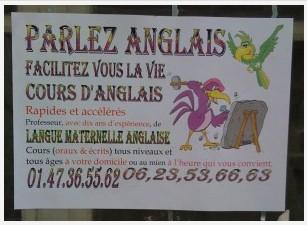 Cours d'anglais, Paris, 1er octobre 2009