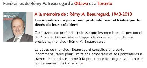 Annonce du décès de Rémy Beauregard