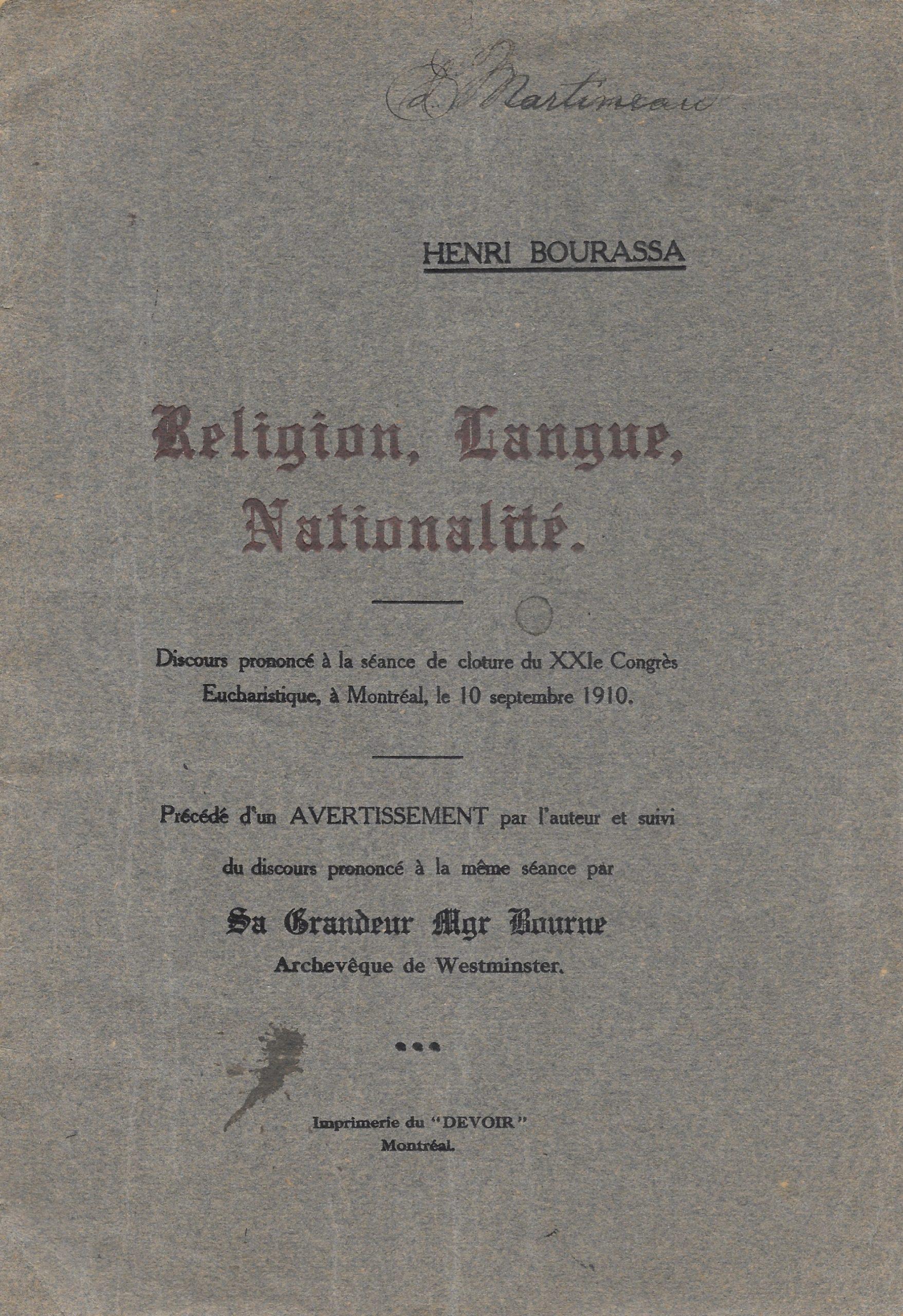 Henri Bourassa, Religion, langue, nationalité, 1910 (?), couverture