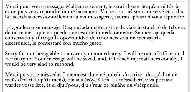 Message d'absence en quatre langues