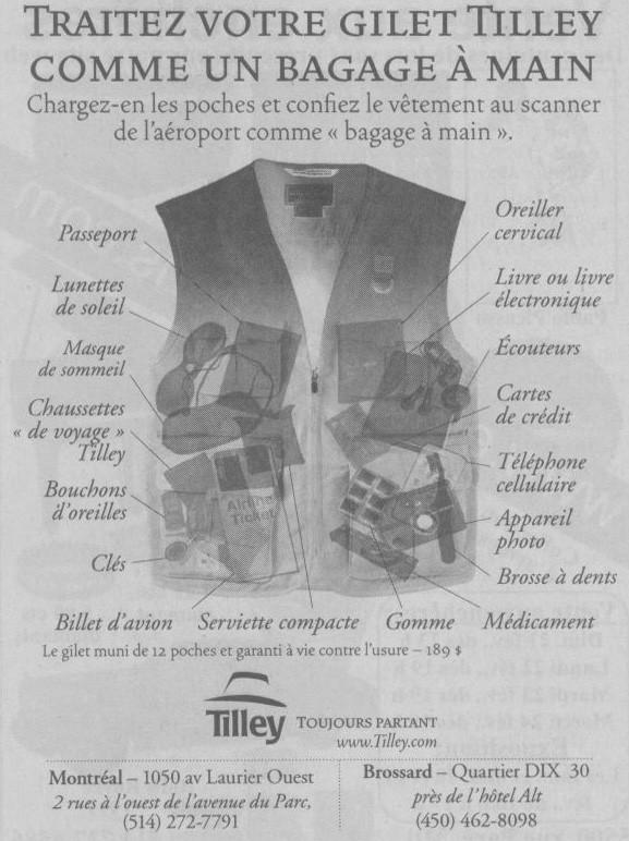 Publicité Tilley, la Presse, 20 février 2010, p. A8