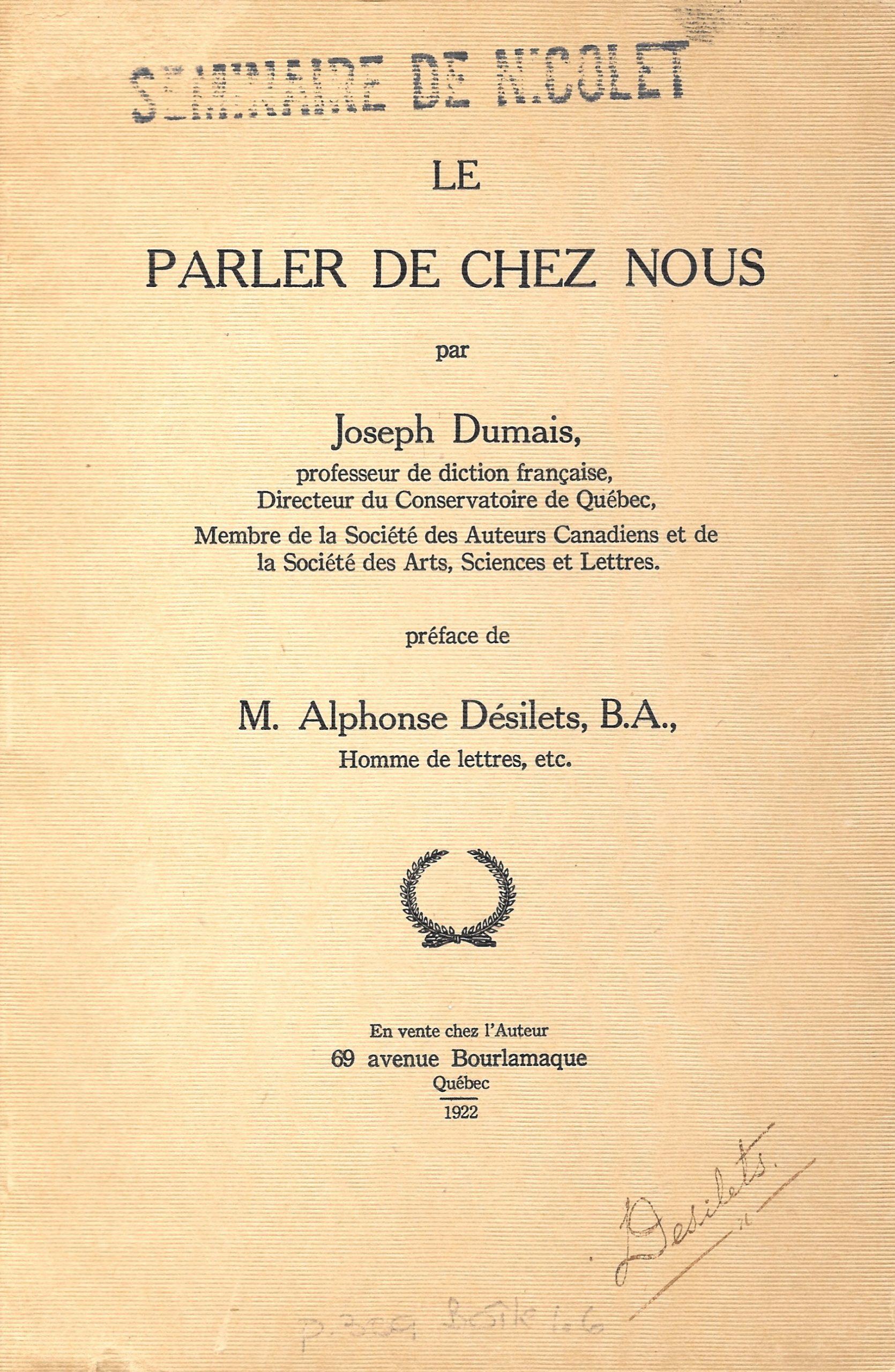 Joseph Dumais, le Parler de chez nous. 1922, couverture
