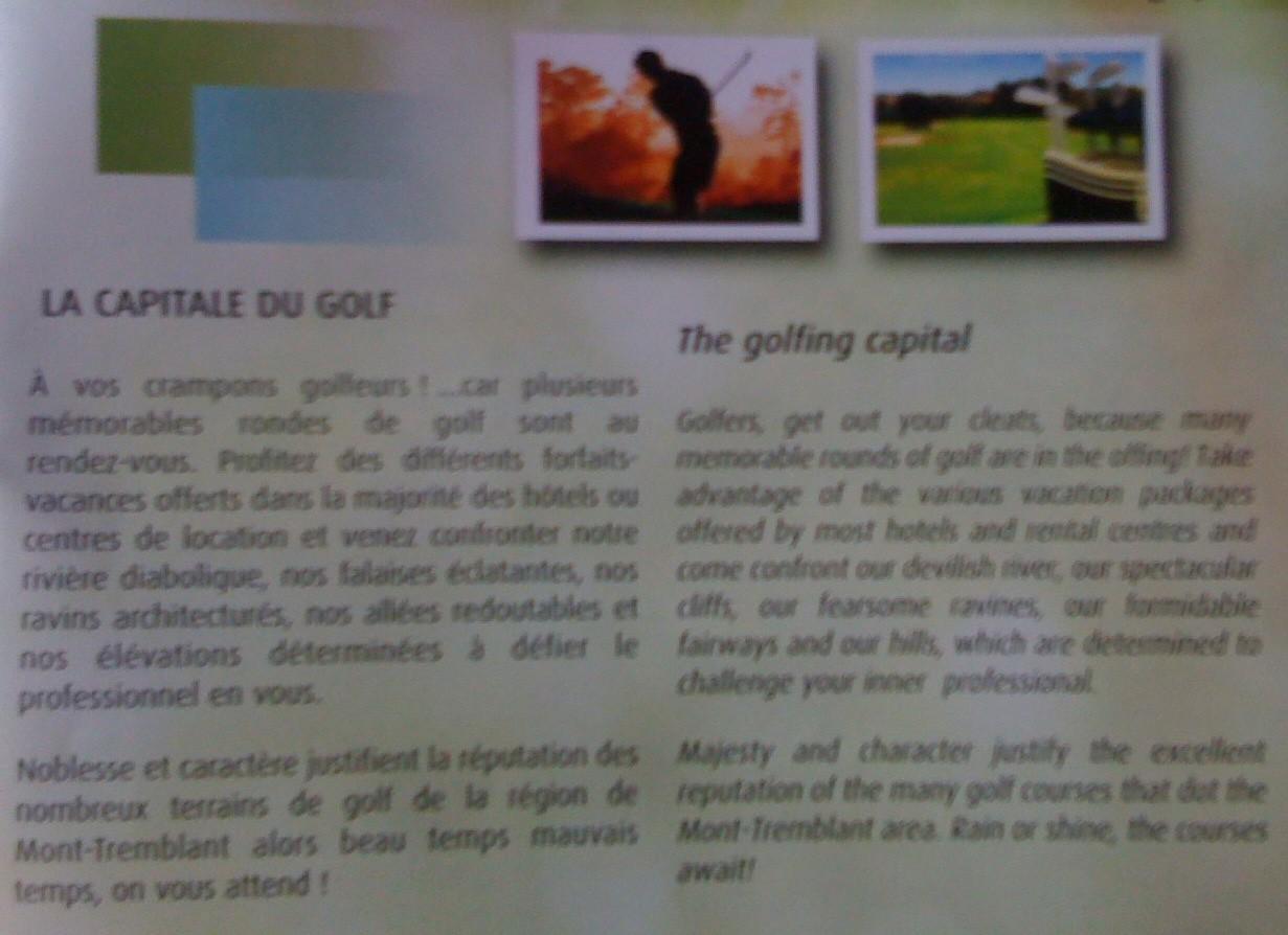 Club de golf, Mont-Tremblant, 2010, publicité
