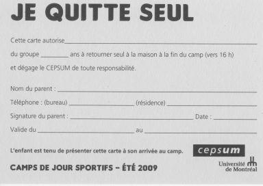 «Je quitte seul», formulaire, Université de Montréal, 2010