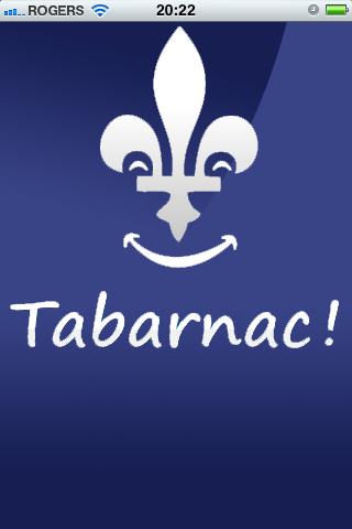 Application Tabarnac !, écran d'accueil