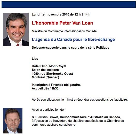 Publicité pour une conférence de Peter Van Loan