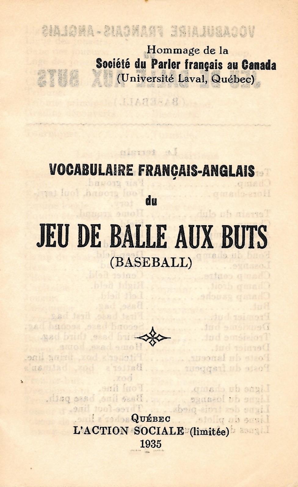Vocabulaire français-anglais du jeu de balle aux buts (baseball)
