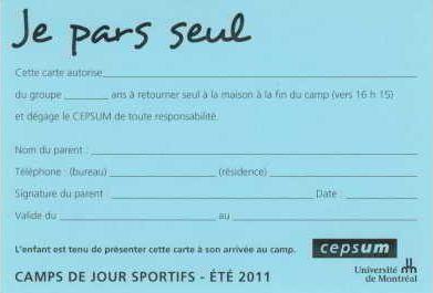 «Je pars seul», formulaire, Université de Montréal, 2011