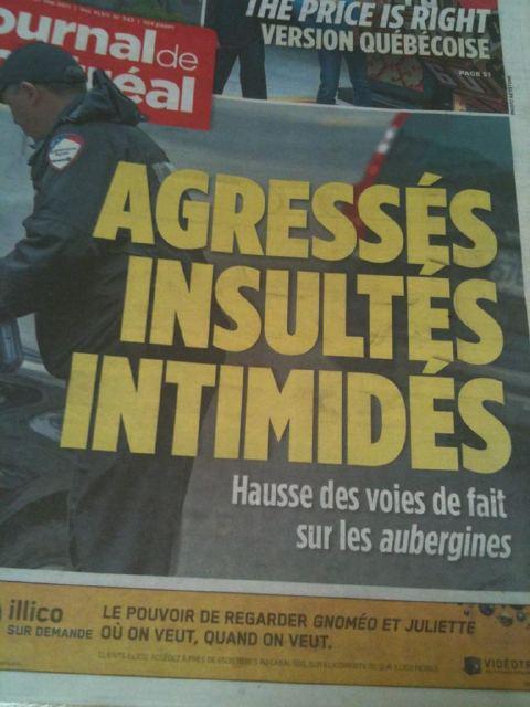 Manchette du Journal de Montréal, 2011