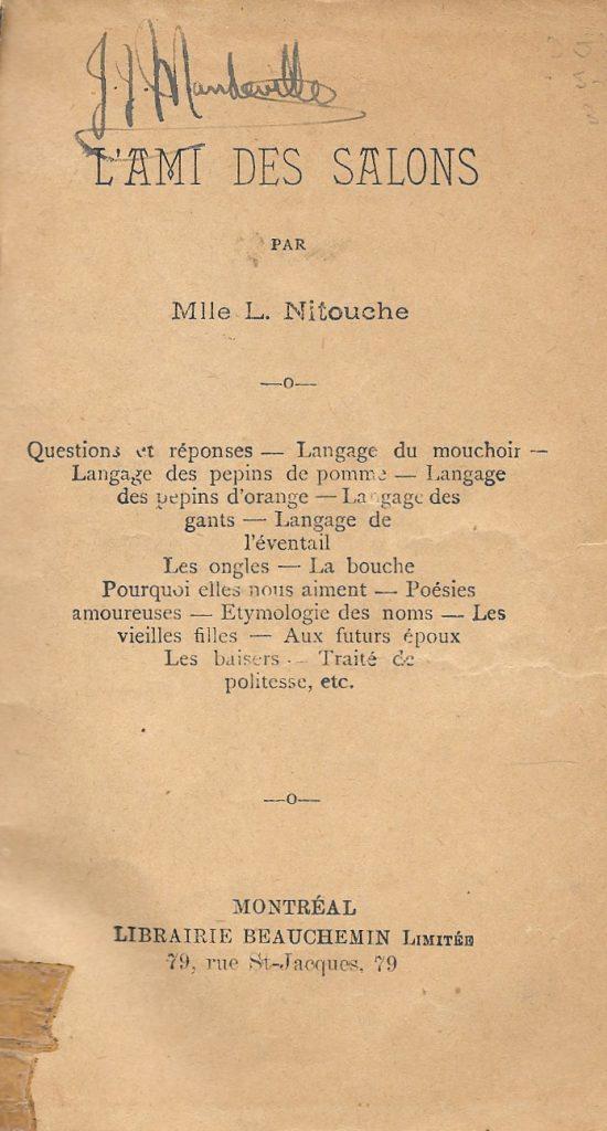 Mlle L. Nitouche, l'Ami des salons, 1892, page de titre