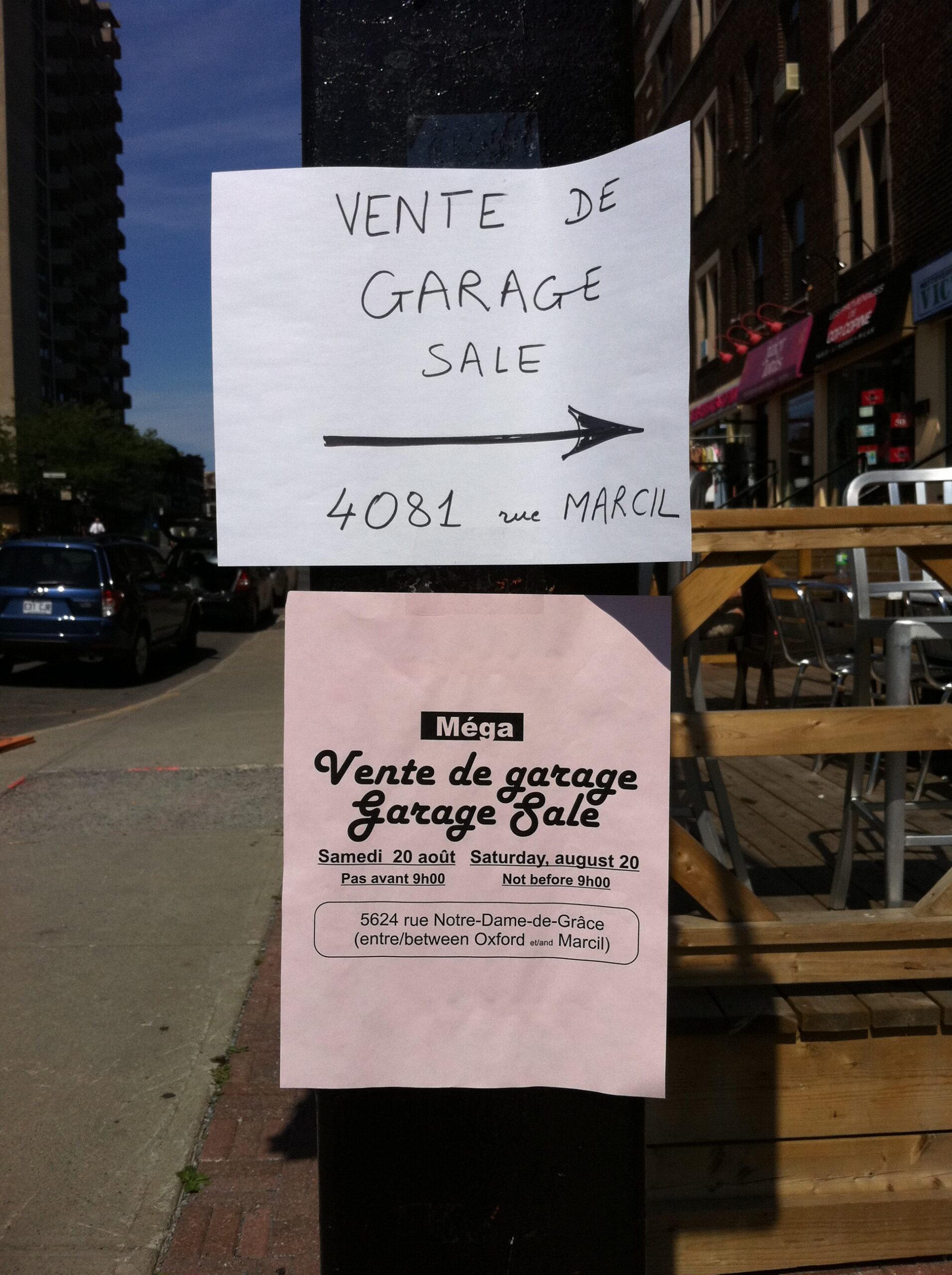 Annonces de ventes de garage, Montréal, 2011