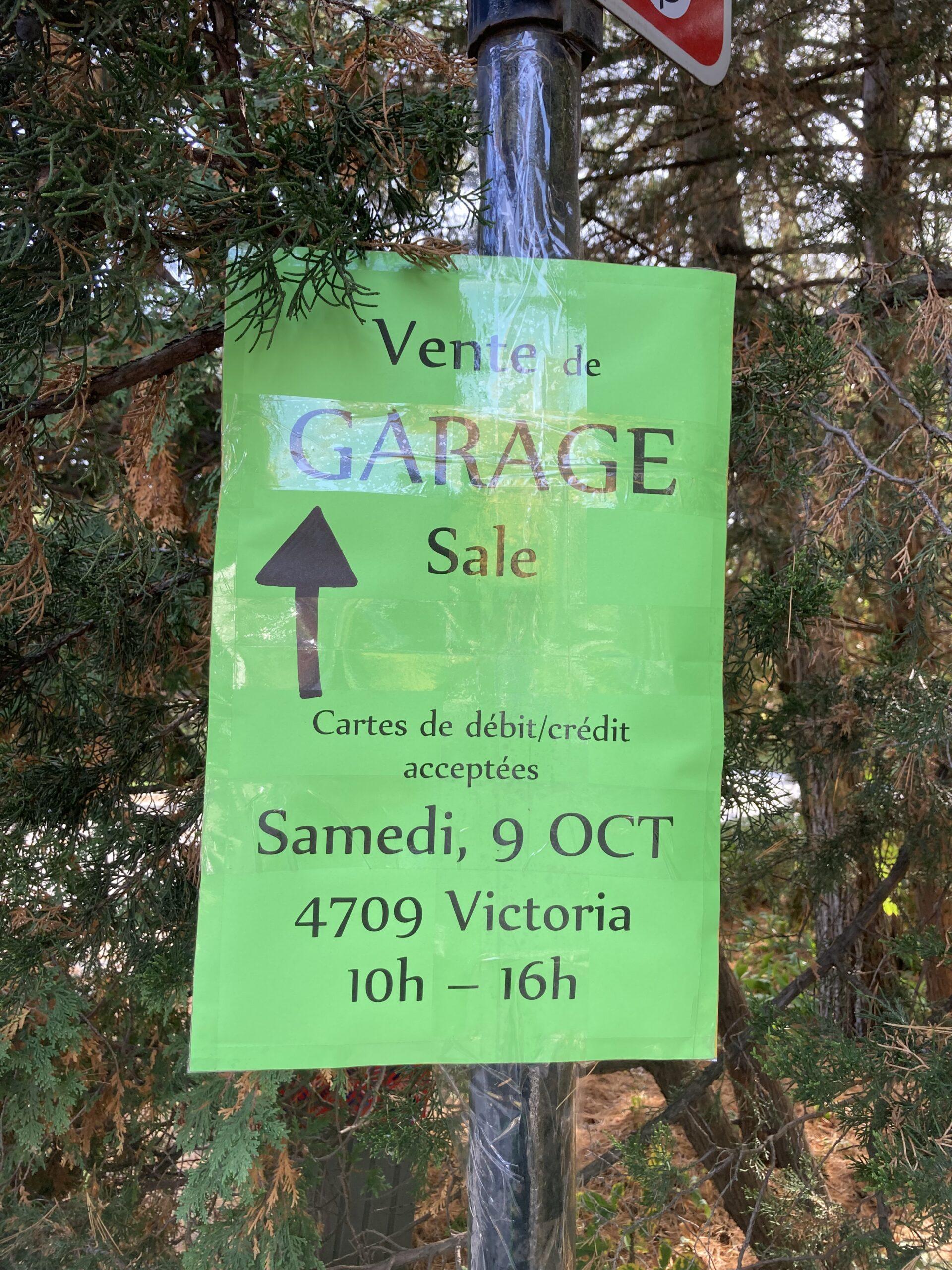Annonce de vente de garage, Westmount, 9 octobre 2021