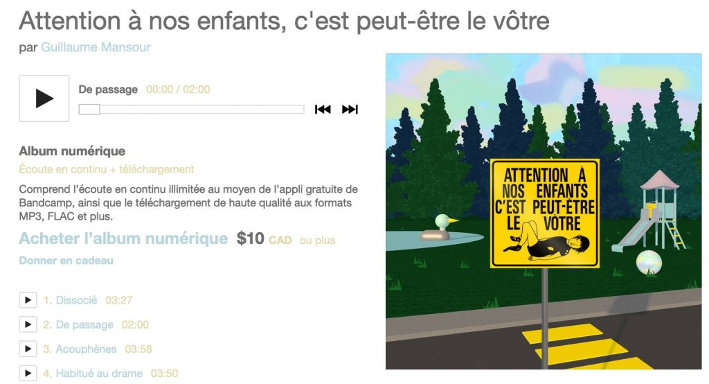 Guillaume Mansour, album Attention à nos enfants, c'est peut-être le vôtre, 2020, pochette