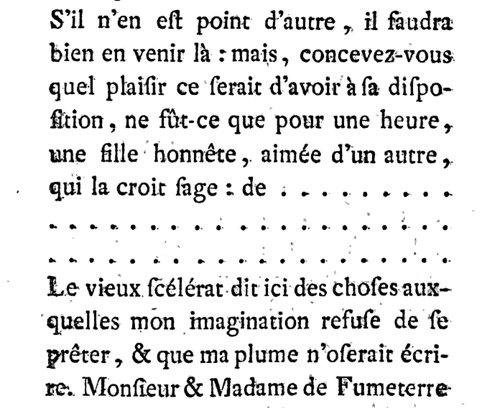Ellipse tirée de Lucile, ou Les progrès de la vertu, de Rétif de la Bretonne, 1768