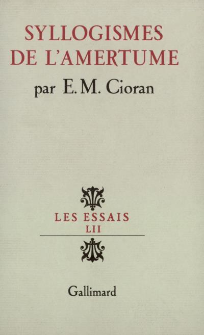Cioran, Syllogismes de l'amertume, 1952, couverture