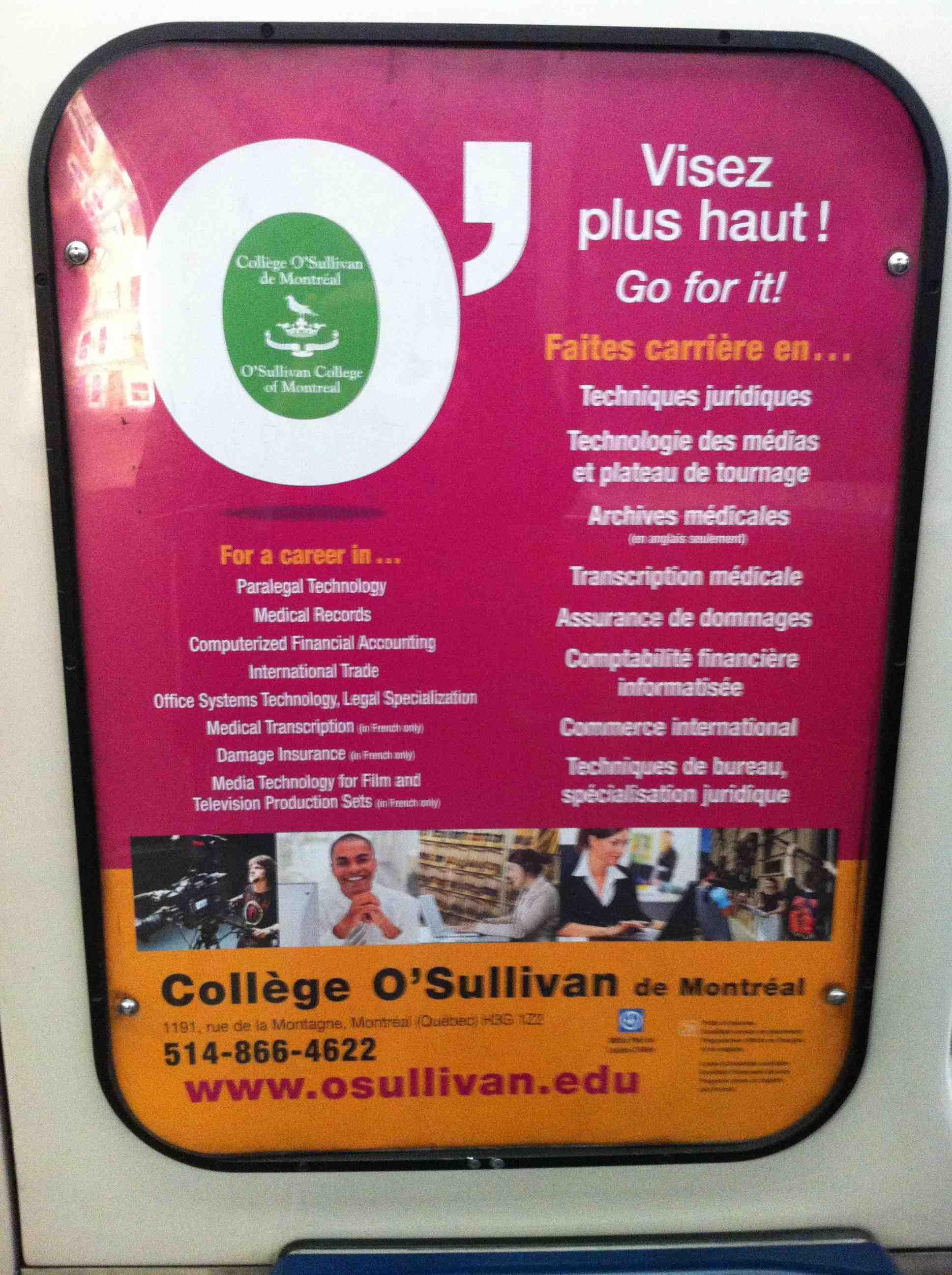 Publicité du Collège O'Sullivan (métro de Montréal)