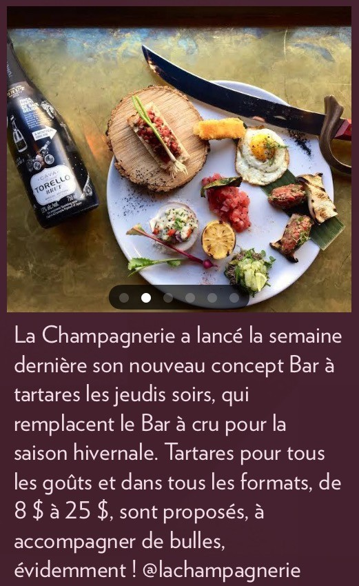 Bar à tartares, la Presse+, 24 février 2018