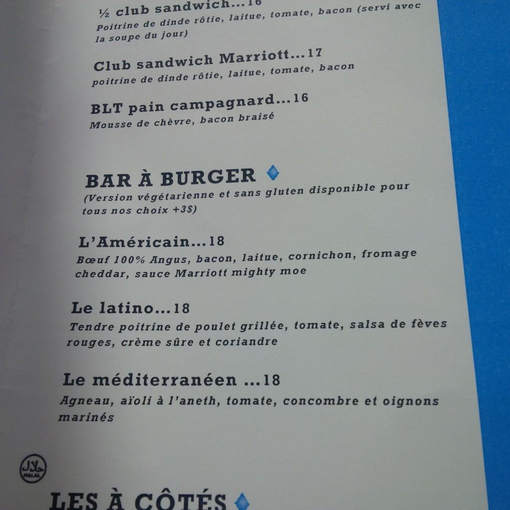 Menu du resto-bar? du Marriott à l'aéroport Pierre-Elliott-Trudeau, Montréal