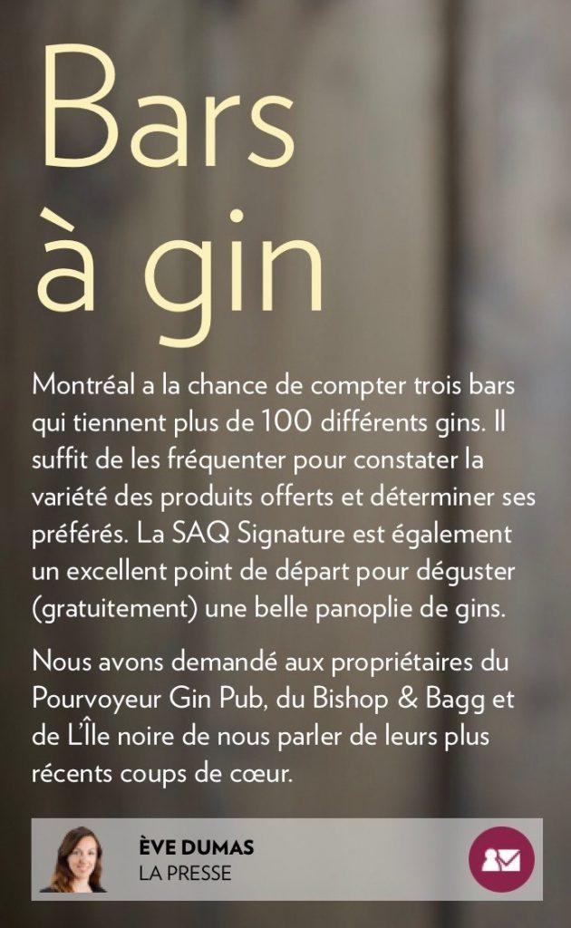 Trois bars à gin montréalais
