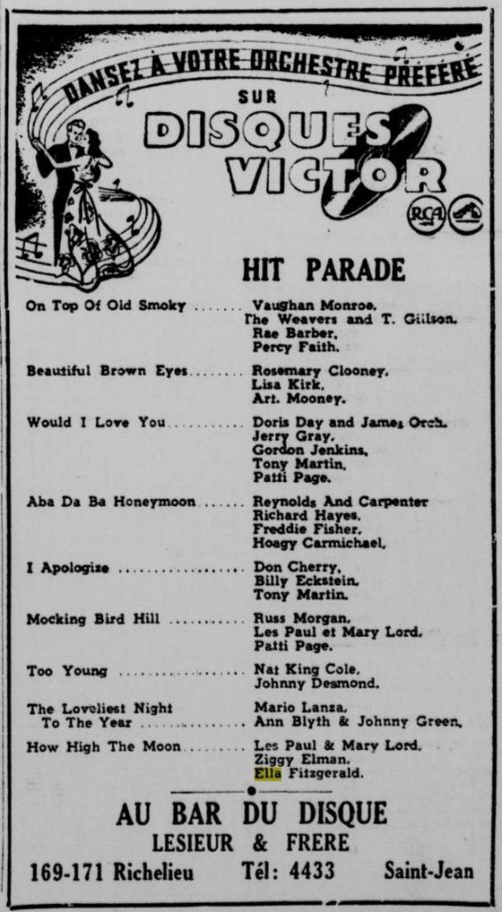 Bar du disque, Saint-Jean-Québec, publicité, 1951