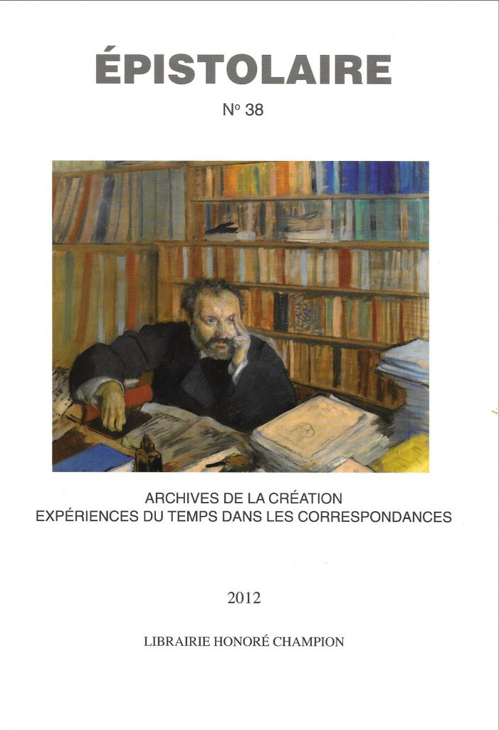 Épistolaire, 38, 2012, couverture