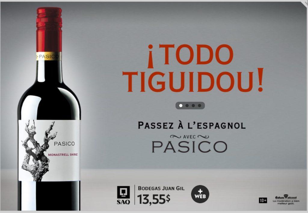 Publicité pour un vin espagnol, la Presse+, 8 octobre 2016