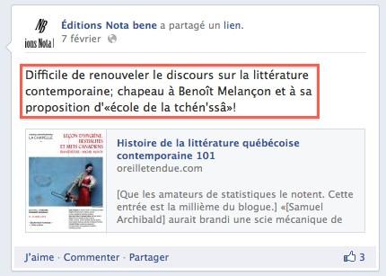 Chez les Éditions Nota bene