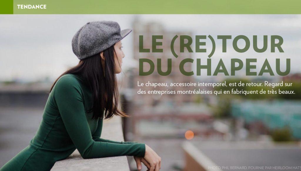 «Le (re)tour du chapeau», la Presse+, 14 octobre 2016