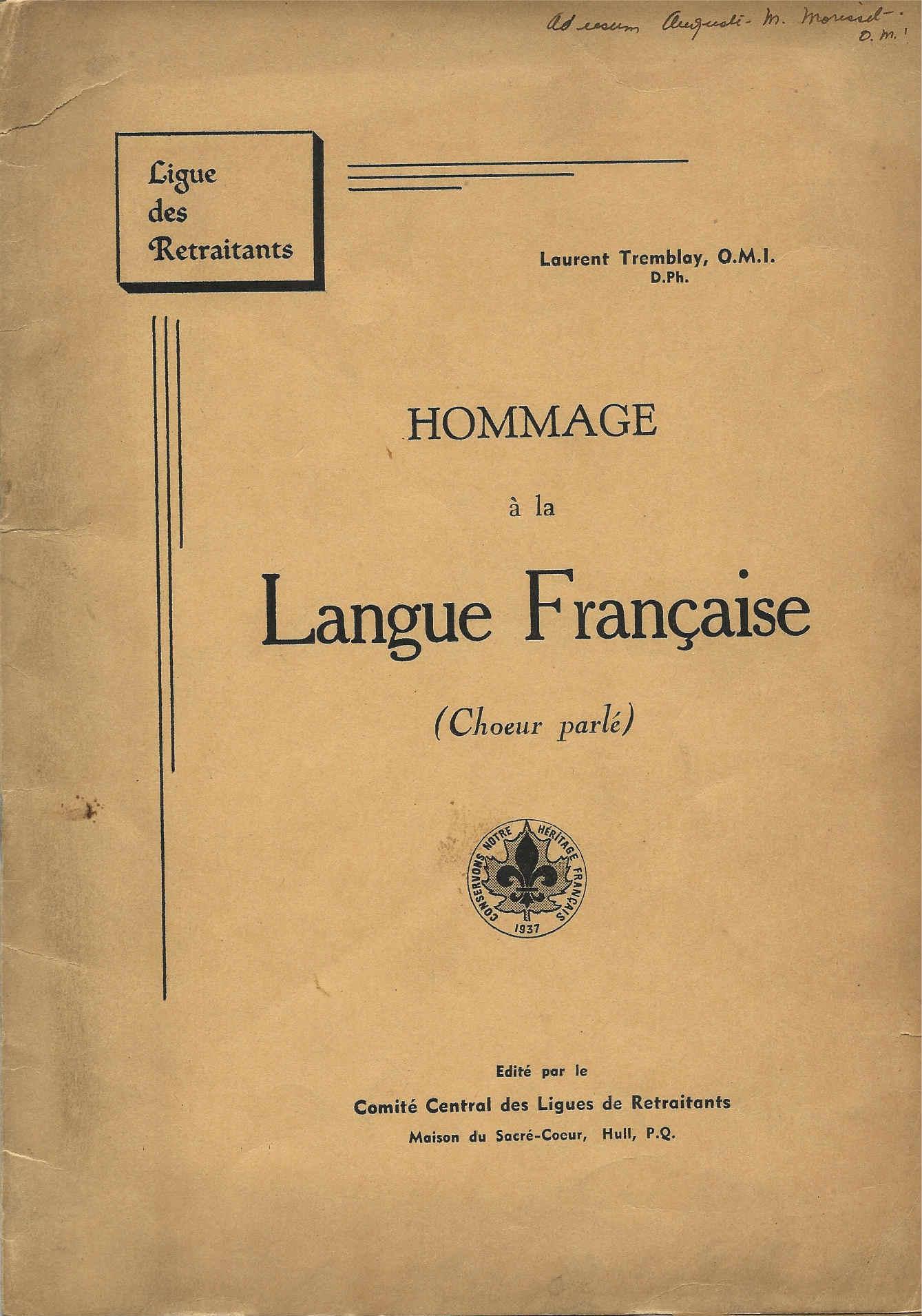 Hommage à la langue française (Chœur parlé), 1937, couverture