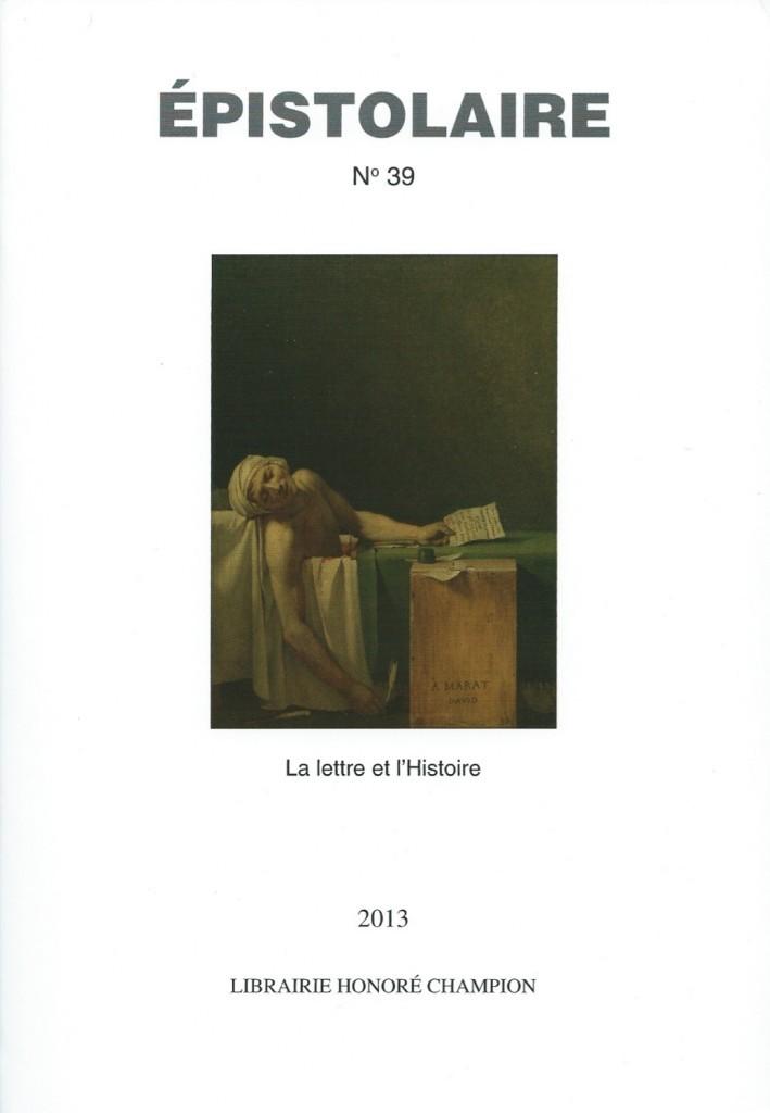 Revue Épistolaire, no 39, 2103, couverture