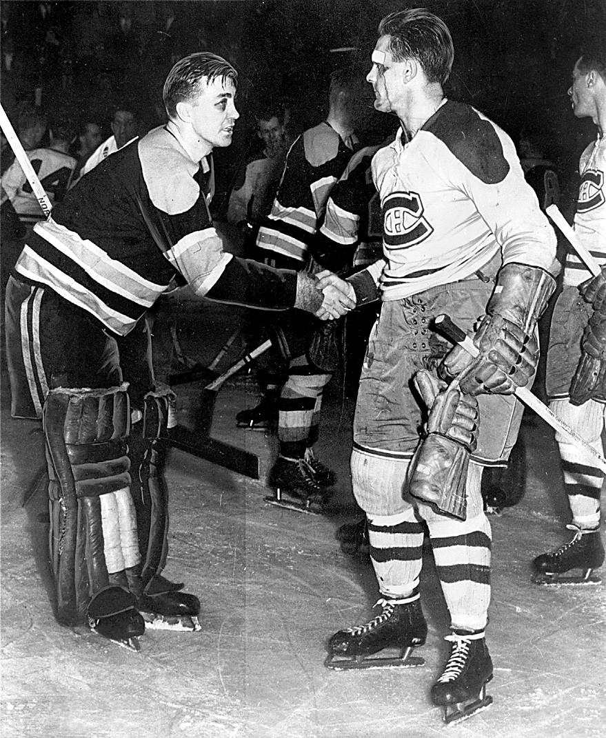 Maurice Richard et Jim Henry, 8 avril 1952