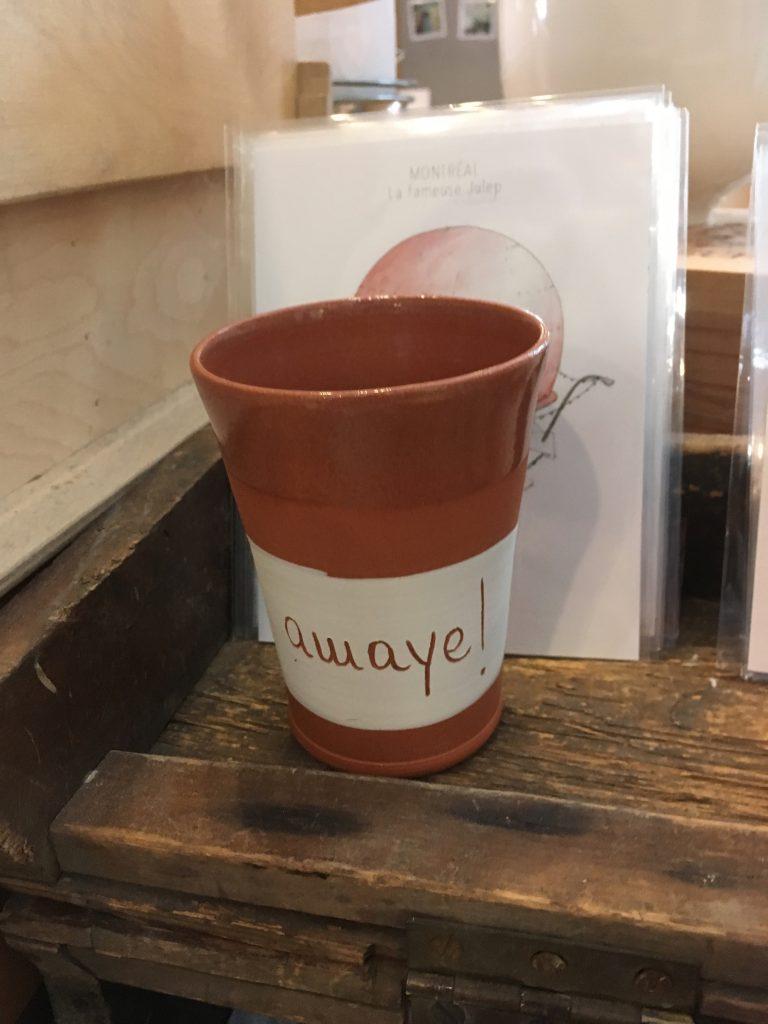 Tasse «Awaye !», Musée McCord, Montréal, juillet 2017