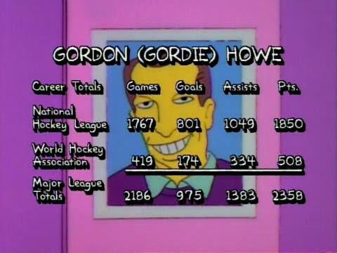 Gordie Howe dans The Simpsons