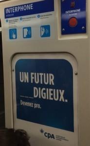 Publicité dans le métro de Montréal, 7 octobre 2014