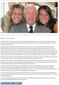Un mot de remerciements des petites-filles de Jean Béliveau