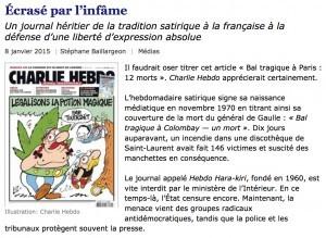 «Écrasé par l'infâme», le Devoir, 8 janvier 2015