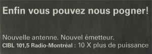 Publicité pour la station CIBL (le Devoir, 5 avril 2011, p. B8)