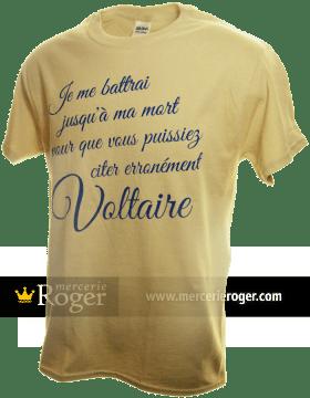 T-shirt voltairien. T-shirt lancé par la Mercerie Roger en janvier 2015