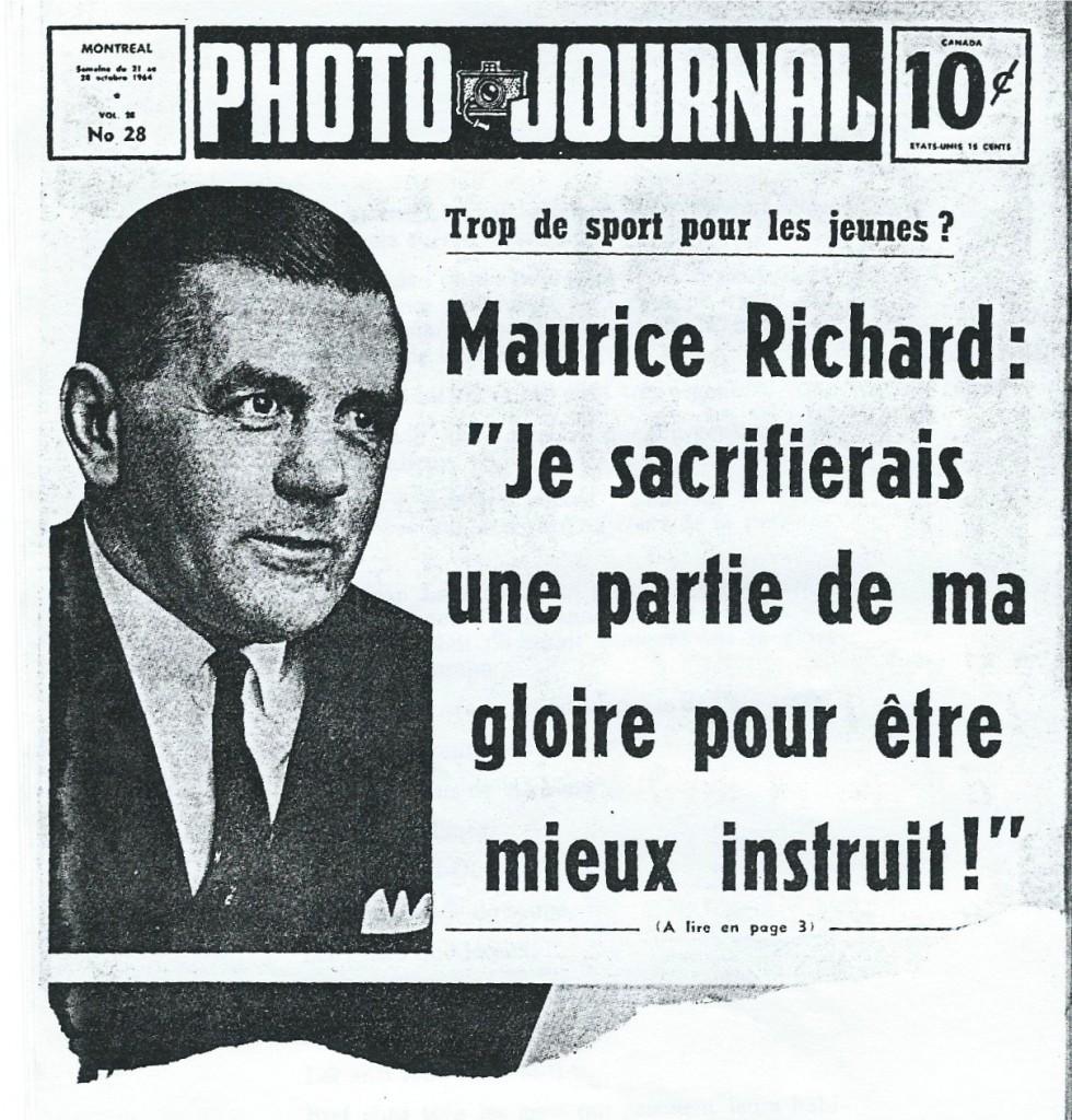 Maurice Richard en première page de Photo journal (21-28 octobre 2014)