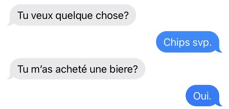 Échanges de textos père-fils, Montréal, octobre 2021