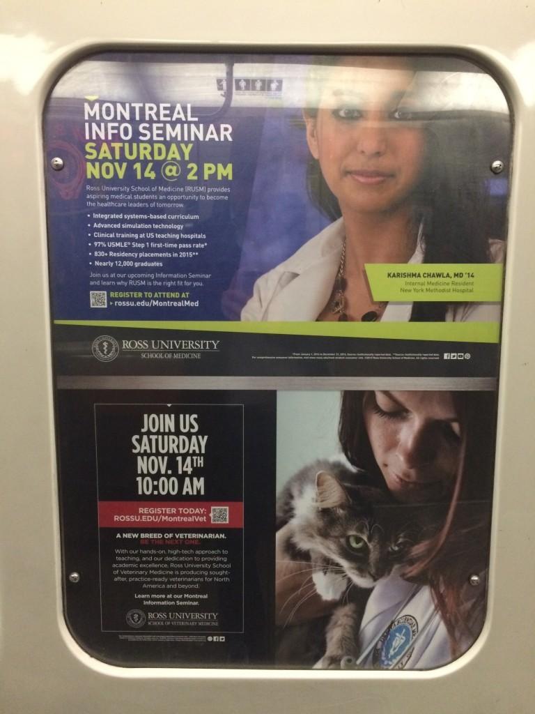 Publicité unilingue, métro de Montréal, novembre 2015
