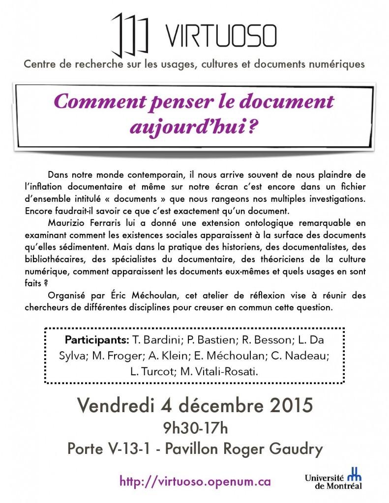 Virtuoso, Atelier du 4 décembre 2015, affiche