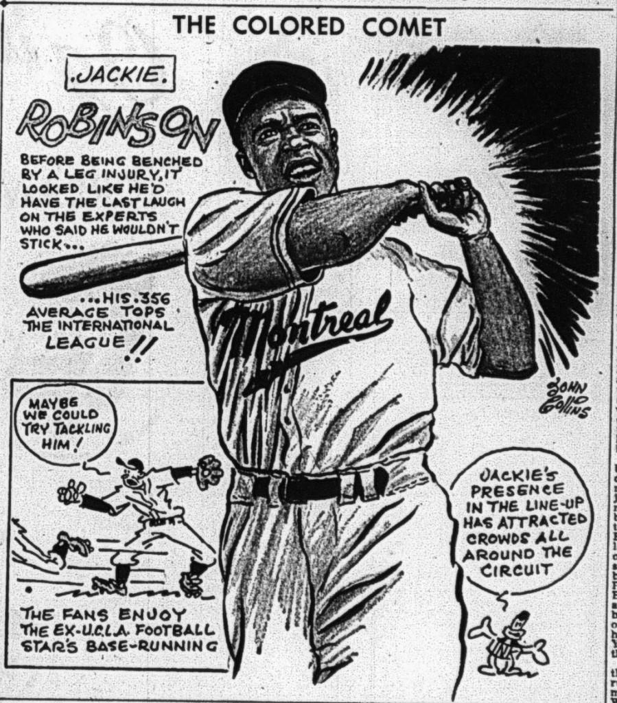 Dessin de Jackie Robinson par John Collins, The Gazette, 4 juin 1946