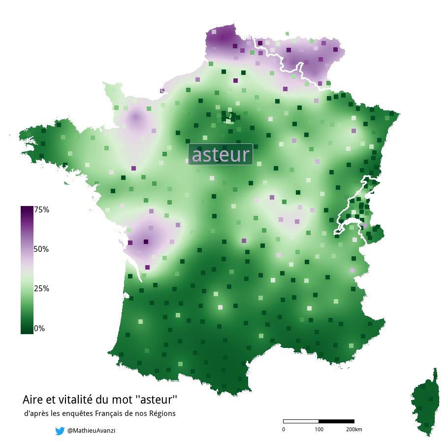 """Mathieu Avanzi, «Aire et vitalité du mot """"asteur"""" d'après les enquêtes Français de nos Régions», 2019"""