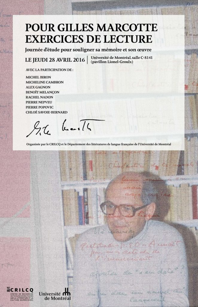Affiche du colloque Gilles Marcotte, 28 avril 2016